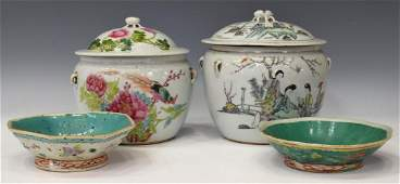 (4) CHINESE PORCELAIN LIDDED POTS & SMALL BOWLS