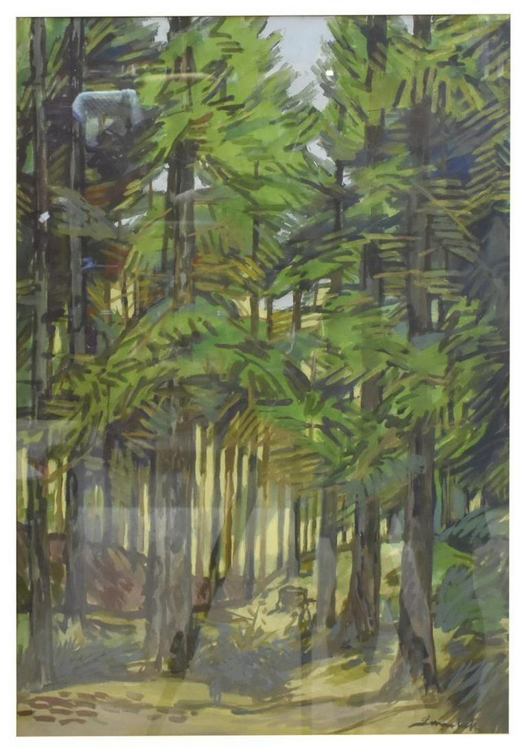FRAMED FOREST LANDSCAPE GOUACHE PAINTING, SIGNED