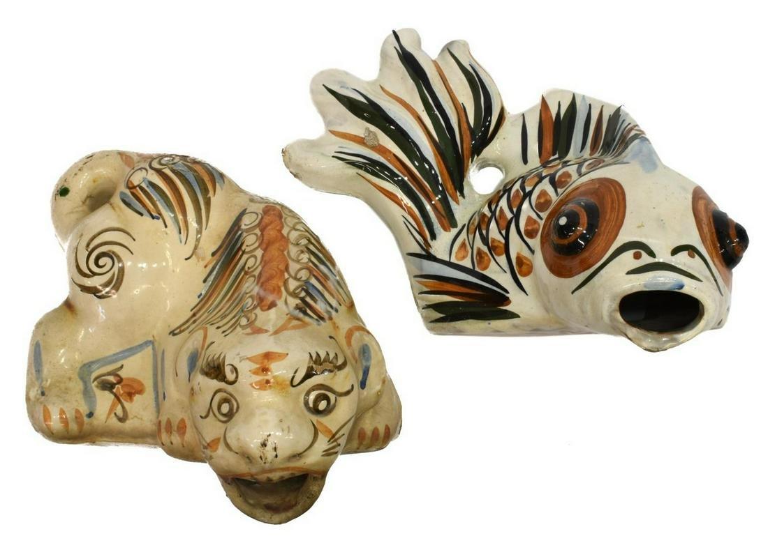 (2) CHINESE CERAMIC LION & PORCELAIN FISH FIGURES