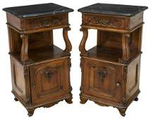 (2) FRENCH MARBLE-TOP WALNUT BEDSIDE CABINETS