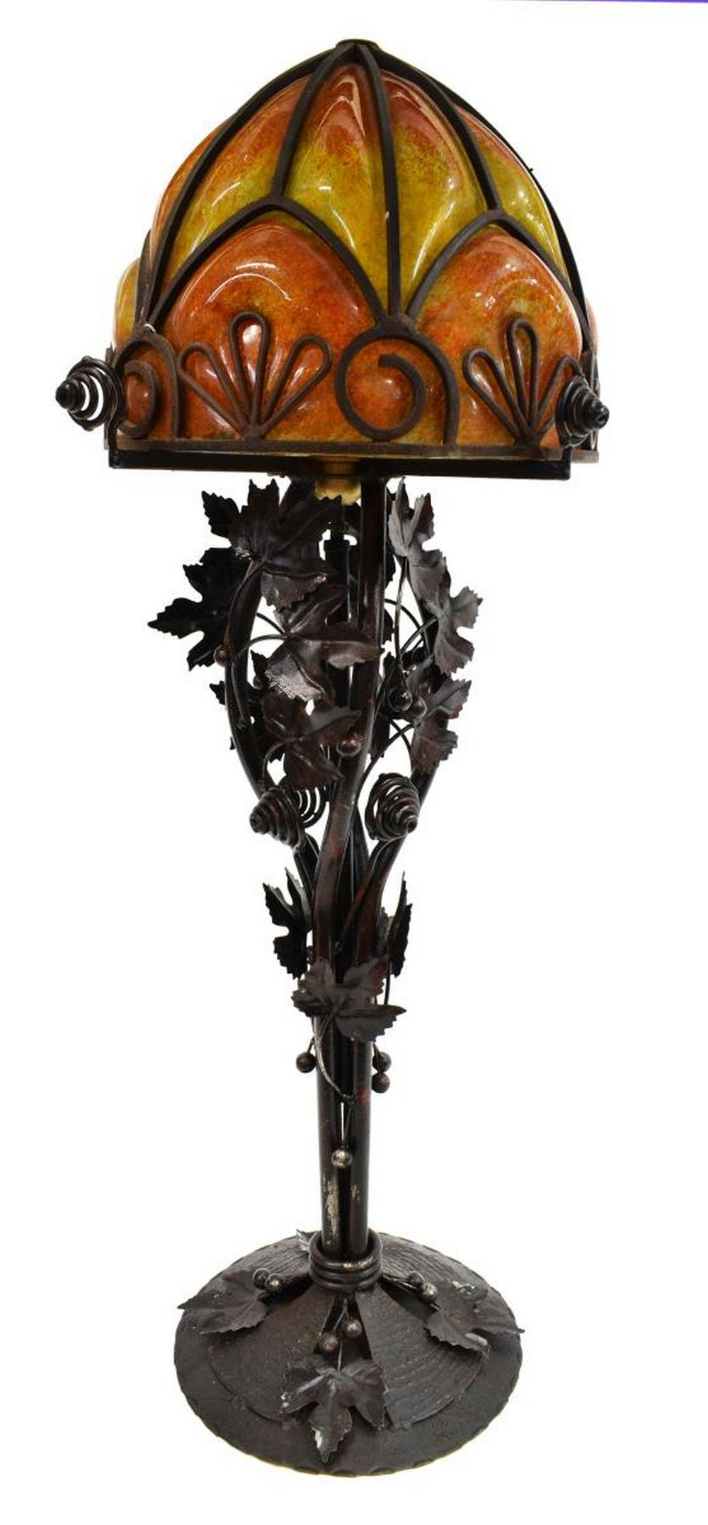 FRENCH ART NOUVEAU WROUGHT IRON & GLASS TABLE LAMP