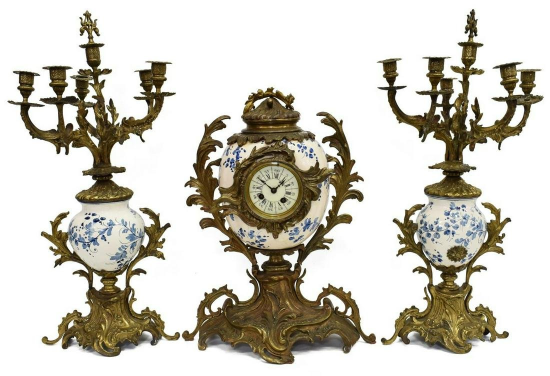 3) FRENCH BRONZE MOUNTED FAIENCE CLOCK, CANDELABRA