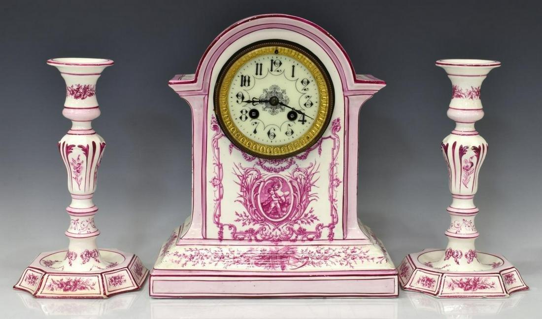 (3) FRENCH GIEN FAIENCE MANTEL CLOCK GARNITURE SET