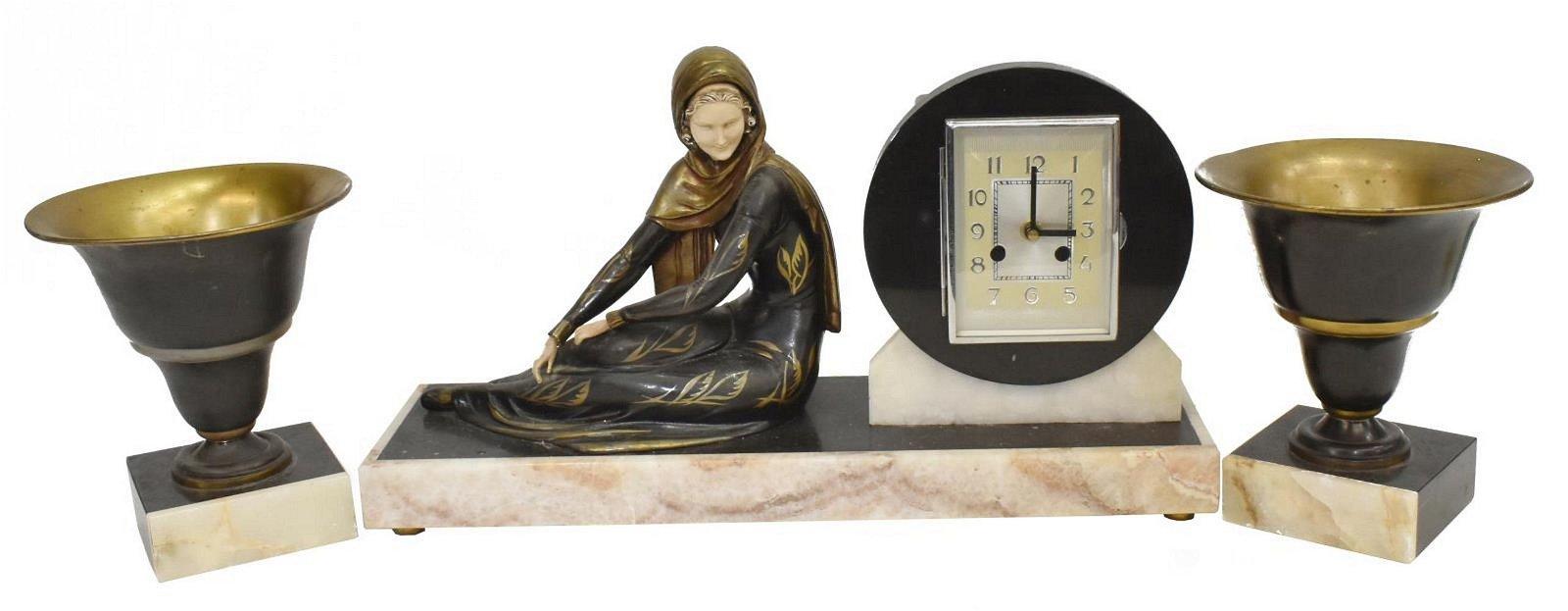 (3) ART DECO FIGURAL MANTEL CLOCK & GARNITURES