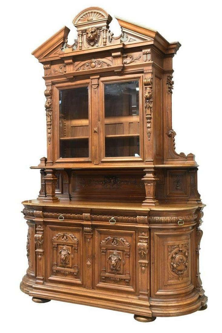 FRENCH RENAISSANCE REVIVAL CAVED WALNUT SIDEBOARD