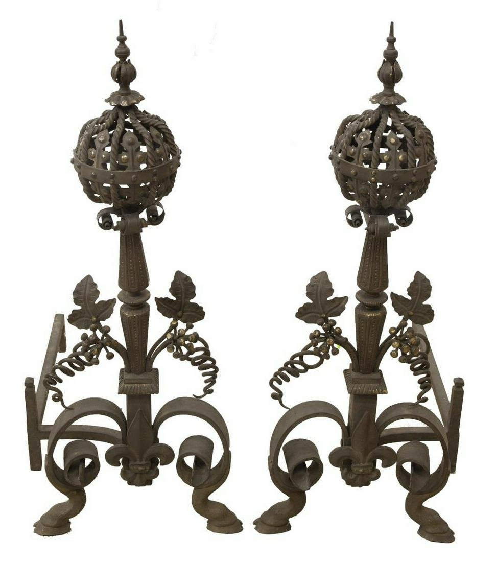 2) FRENCH WROUGHT IRON & PATINATED BRONZE ANDIRONS