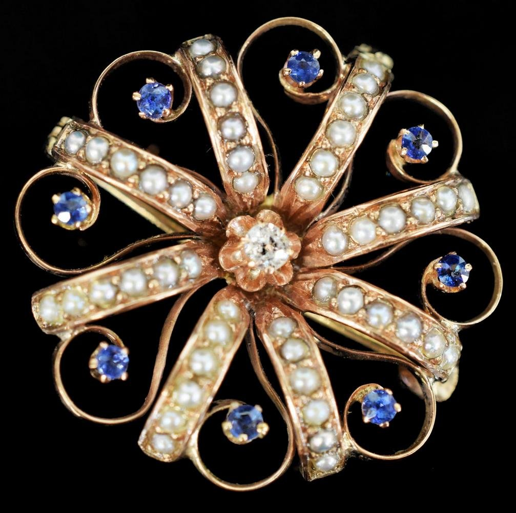 ESTATE 12KT GOLD, DIAMOND & SAPPHIRE BROOCH/PIN