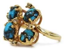 ESTATE AJA 14KT GOLD, TURQUOISE & DIAMOND RING