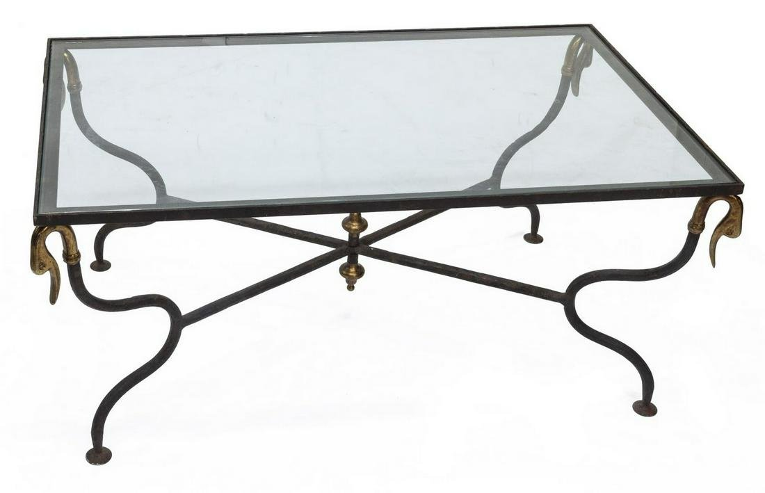 BRASS SWAN ACCENTED GLASS-TOP COFFEE TABLE