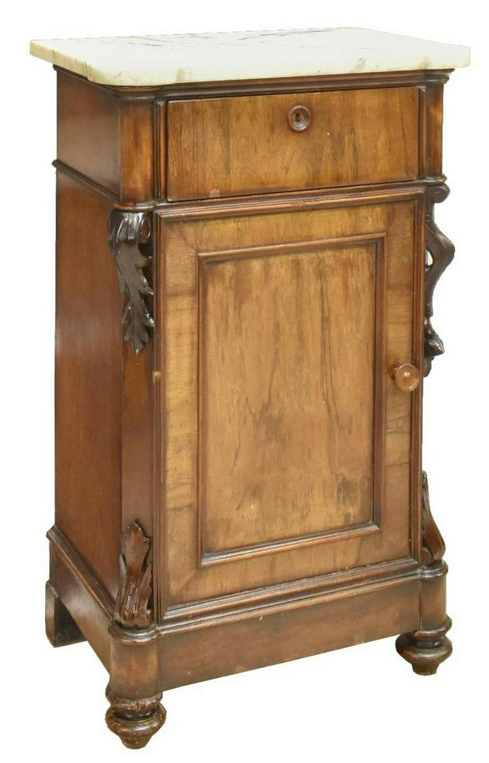 LOUIS PHILIPPE MARBLE-TOP BEDSIDE CABINET