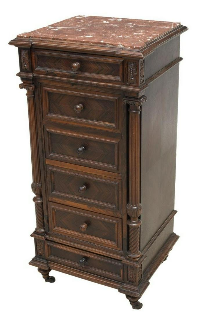 FRENCH LOUIS XVI STYLE MARBLE-TOP BEDSIDE CABINET