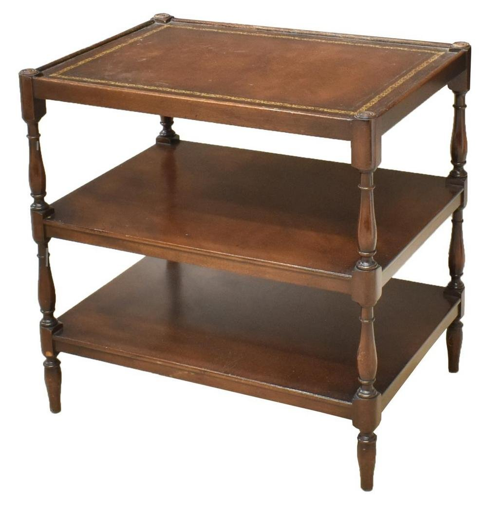 ENGLISH THREE-TIER LEATHER-TOP SERVICE CART
