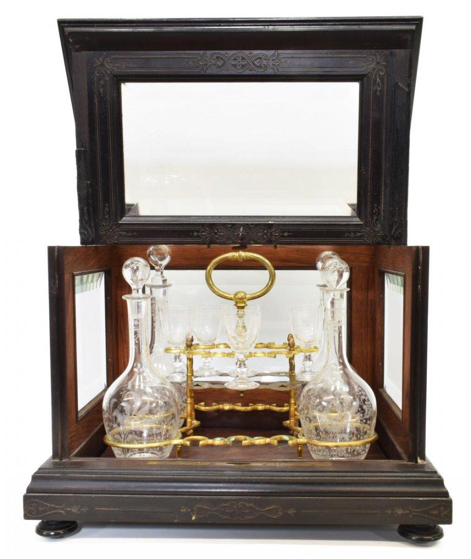 VICTORIAN EBONIZED & BEVELED GLASS TANTALUS SET