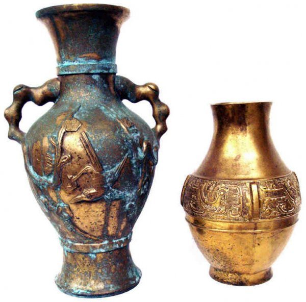 513: TWO ANTIQUE ASIAN PATINATED RELIEF BRONZE VASES