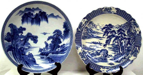 517: TWO ASIAN PORCELAIN BLUE & WHITE FIGURAL CHARGERS