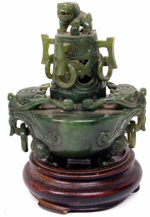 519: SMALL CHINESE SPINACH JADE TRIPOD CENSER FOO LIONS