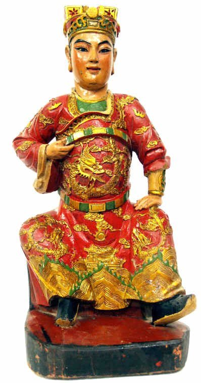 520: ASIAN GILT & POLYCHROME CARVED WOOD SEATED FIGURE