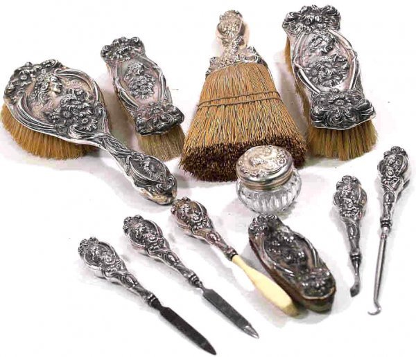 756: ART NOUVEAU UNGER STERLING HE LOVES ME VANITY SET