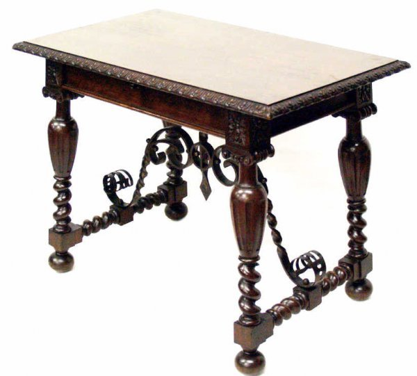 777: SPANISH BAROQUE CARVED WALNUT STYLE & IRON TABLE