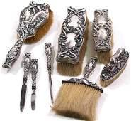 809: AMERICAN KERR ART NOUVEAU STERLING DRESSER SET