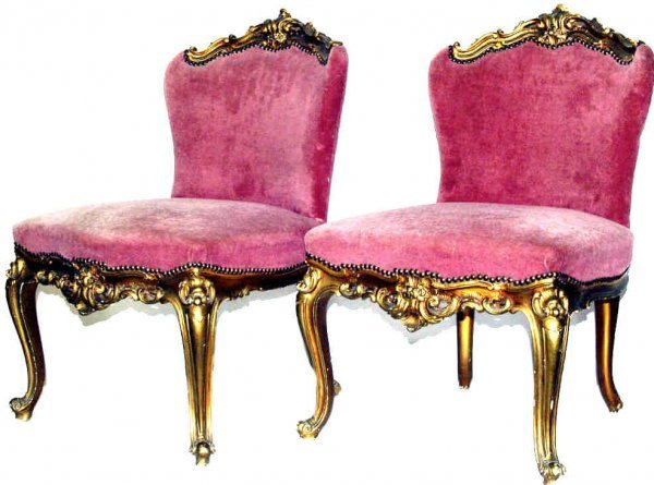 834: ANTIQUE ITALIAN CARVED GILT WOOD SLIPPER CHAIRS