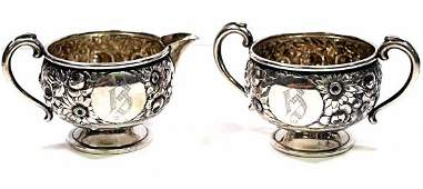 844: AMERICAN REPOUSSE FLORAL STERLING CREAMER & SUGAR