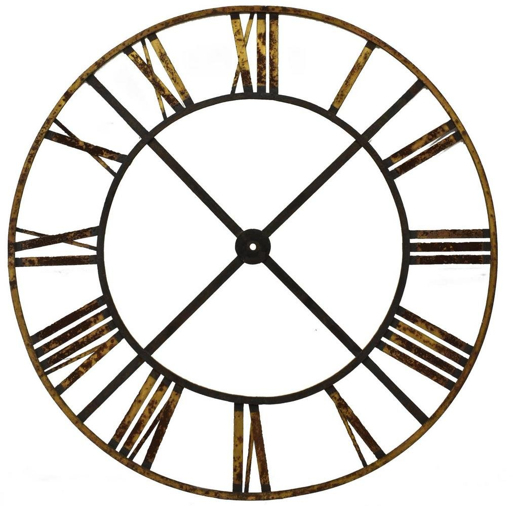 """FRENCH IRON CLOCK TOWER FACE, 69""""DIAM"""