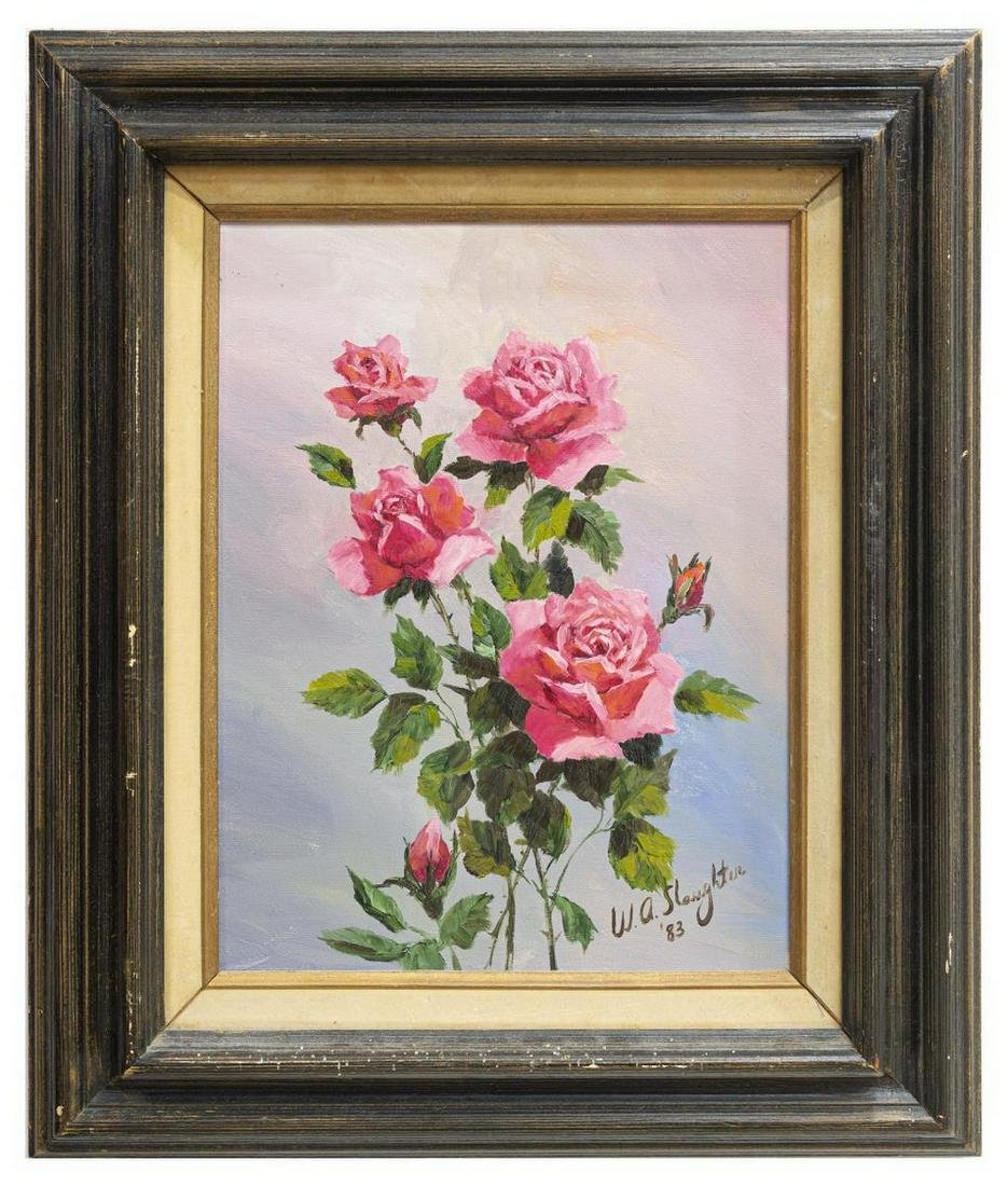 WILLIAM SLAUGHTER (TX, 1923-2003) ROSES PAINTING