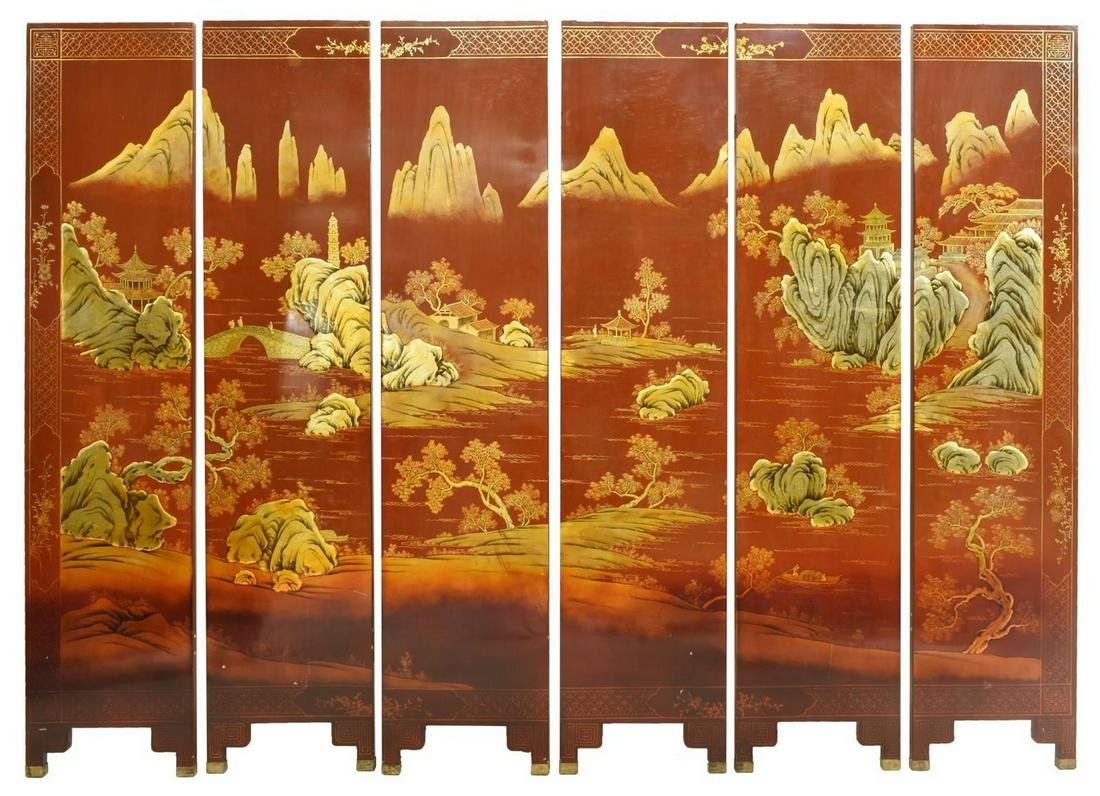 ASIAN PARCEL GILT BLACK & RED LACQUERED SCREEN
