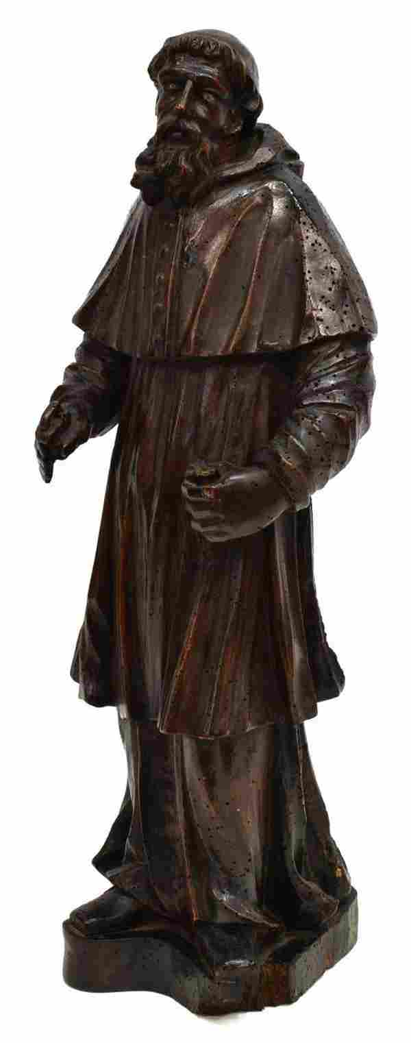 FRENCH RELIGIOUS CARVED WOOD MONK STATUE