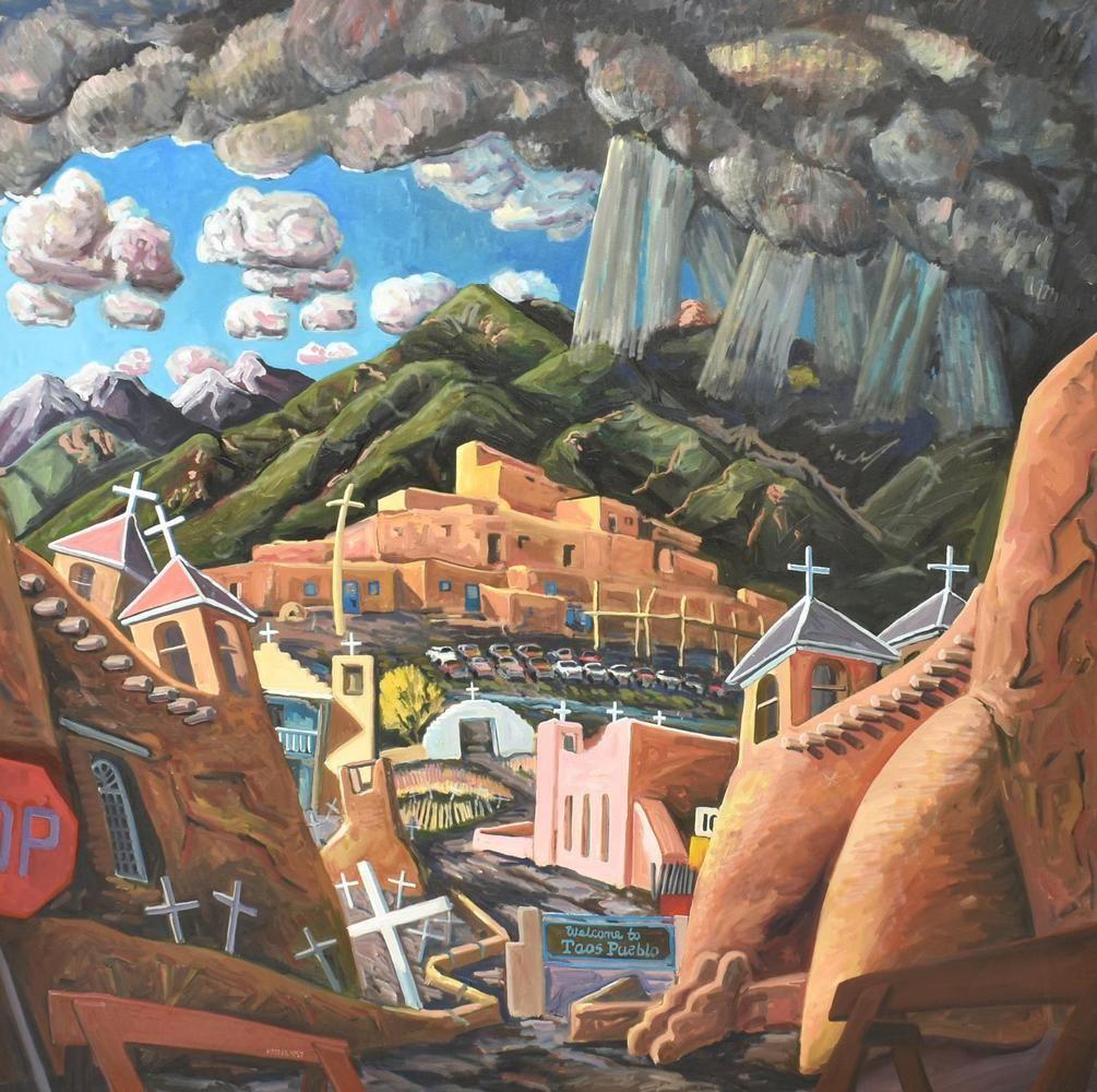 DEAN A. PORTER (B.1939) TAOS PUEBLO RAIN STORM