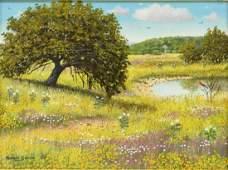 MANUEL GARZA (TX, B.1940) WILDFLOWER PAINTING