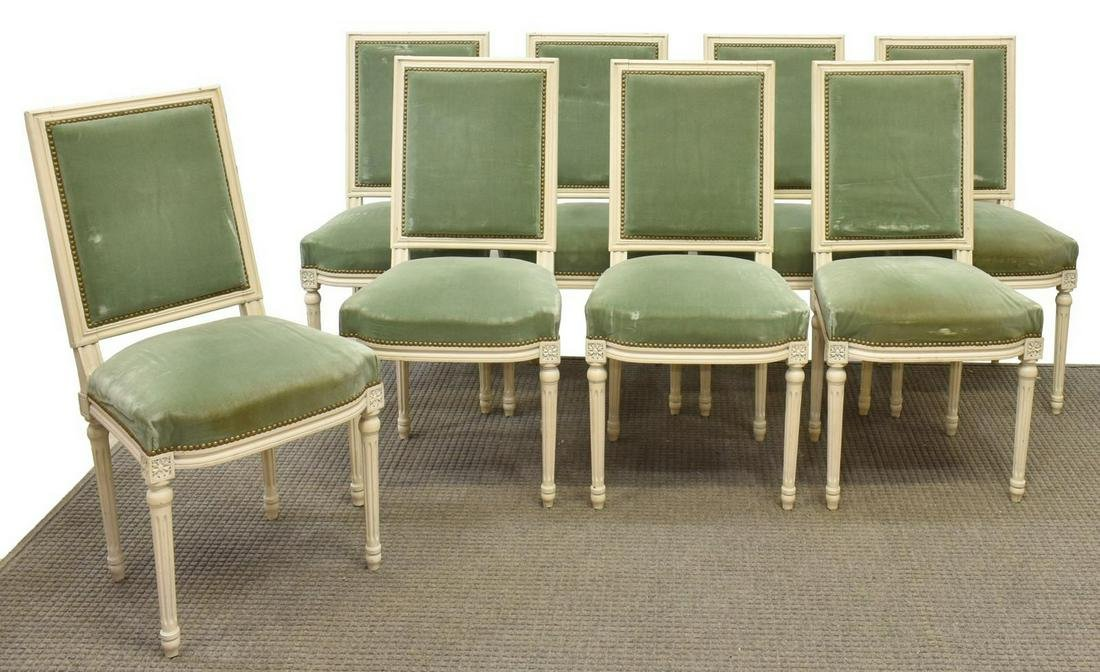 (8) FRENCH LOUIS XVI STYLE PAINTED DINING CHAIRS