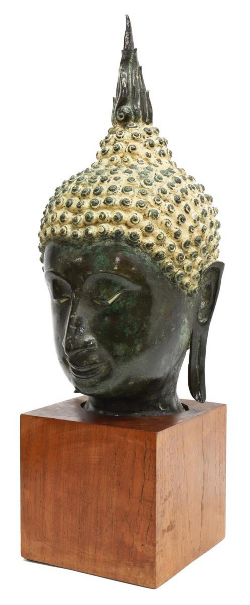 THAI VERDIGRIS BRONZE HEAD OF BUDDHA