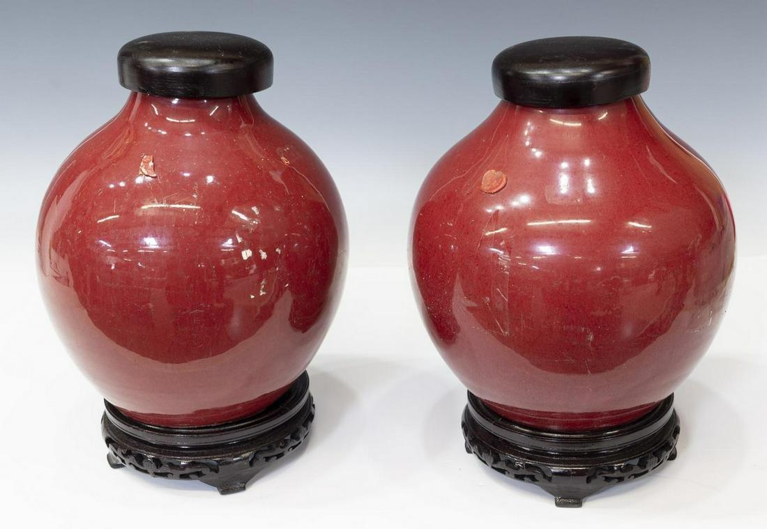 (2) CHINESE OX BLOOD GLAZED PORCELAIN JARS