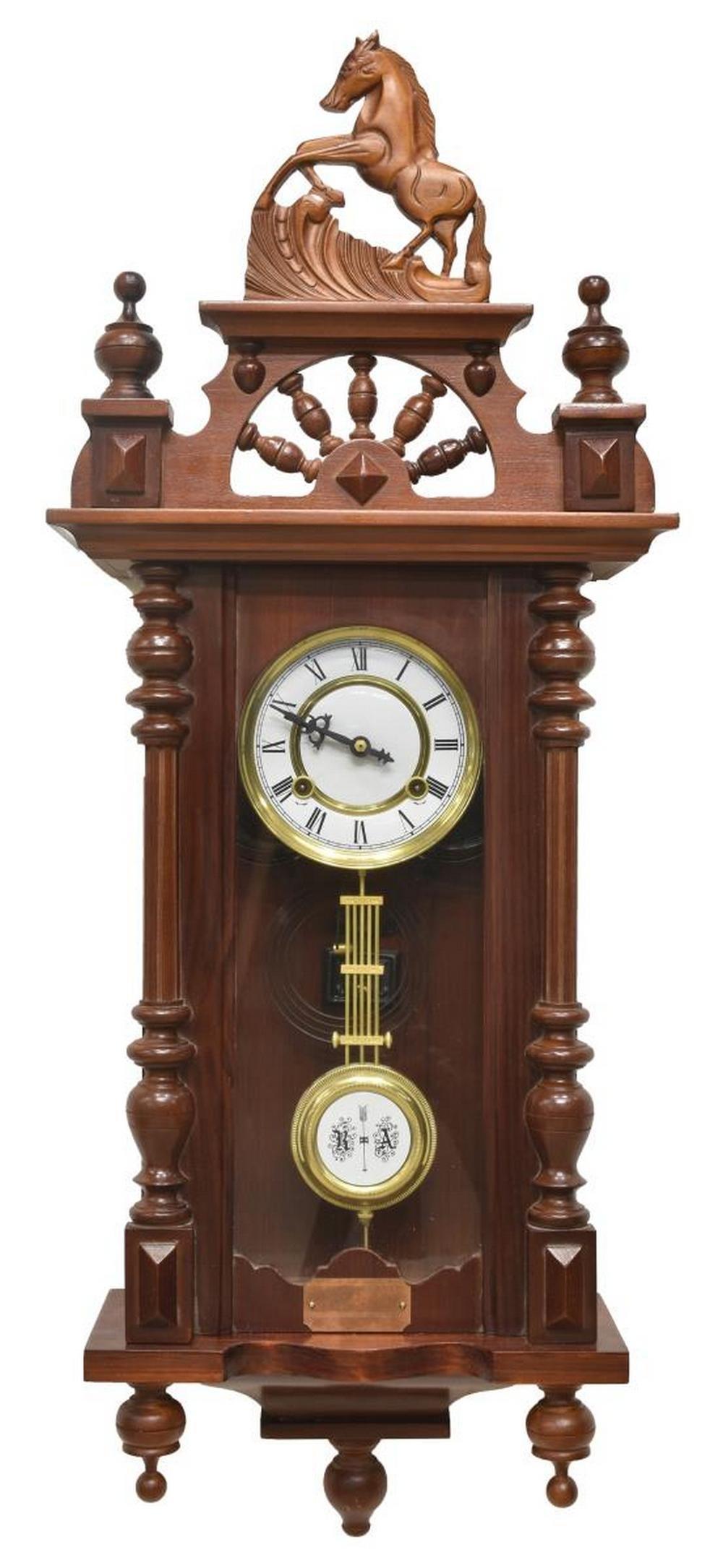 TIME MFG. CO. REGULATOR WALL CLOCK HORSE CREST