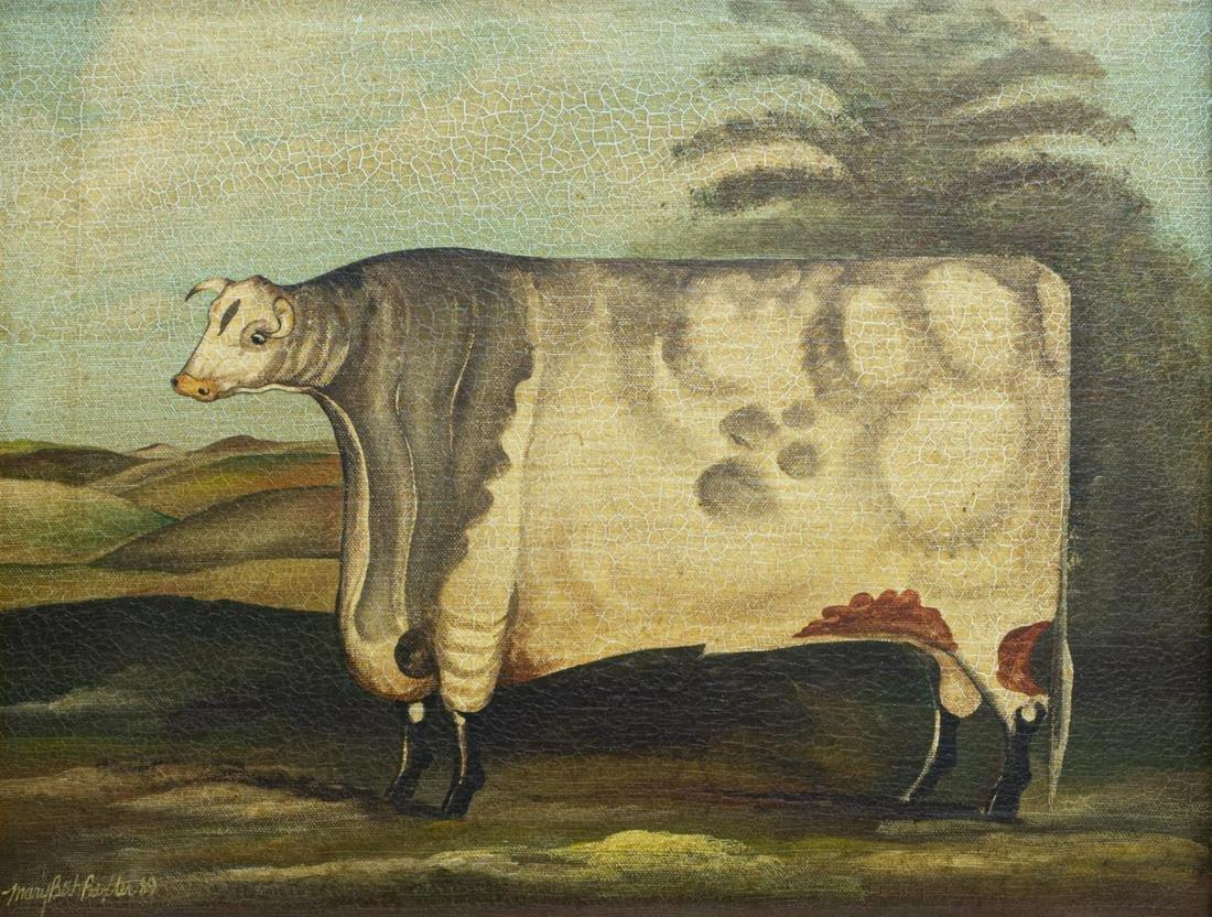 FRAMED MARY BETH BAXTER FOLK ART COW PAINTING