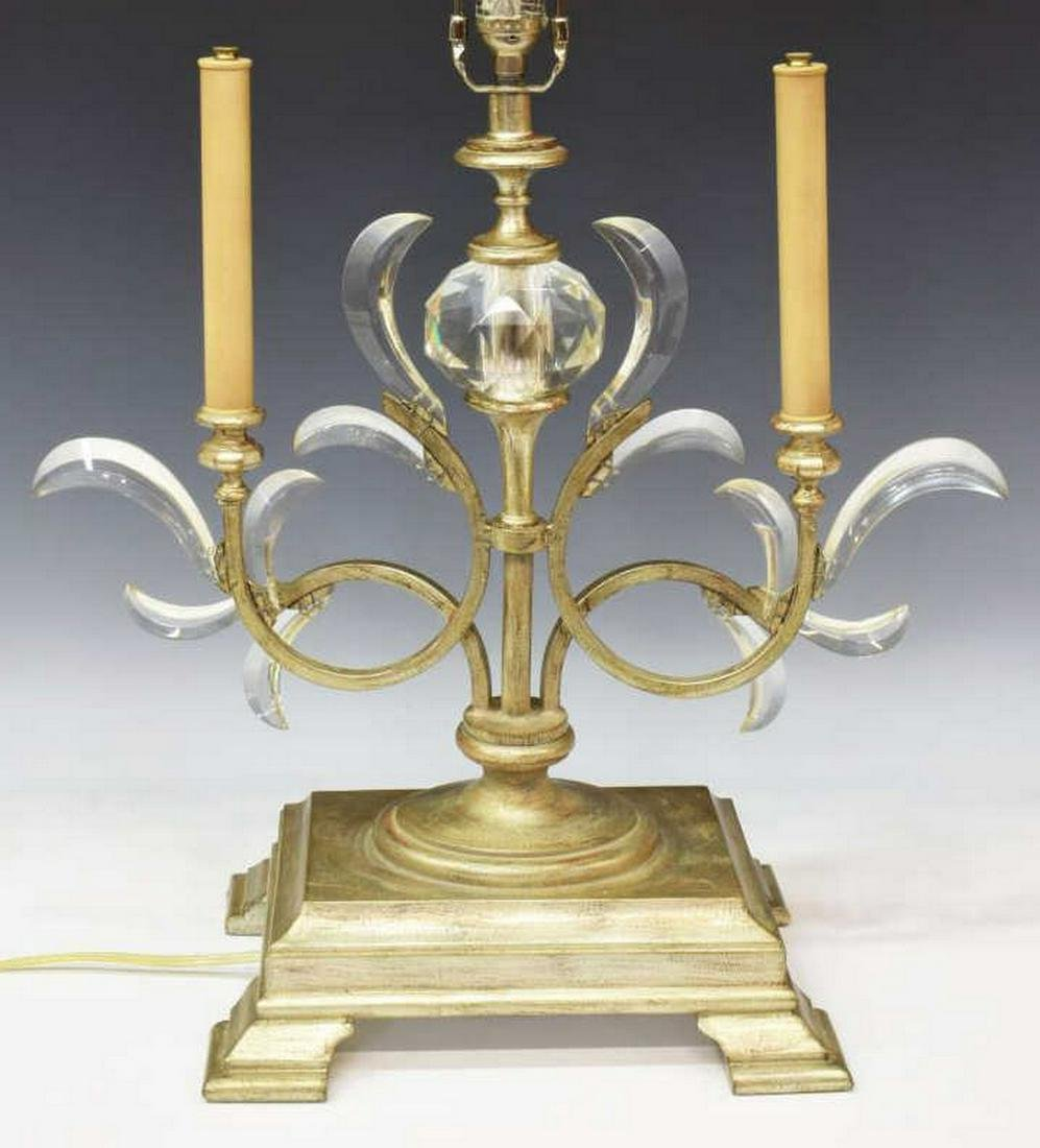 FINE ART LAMPS SILVER GILT & CRYSTAL TABLE LAMP