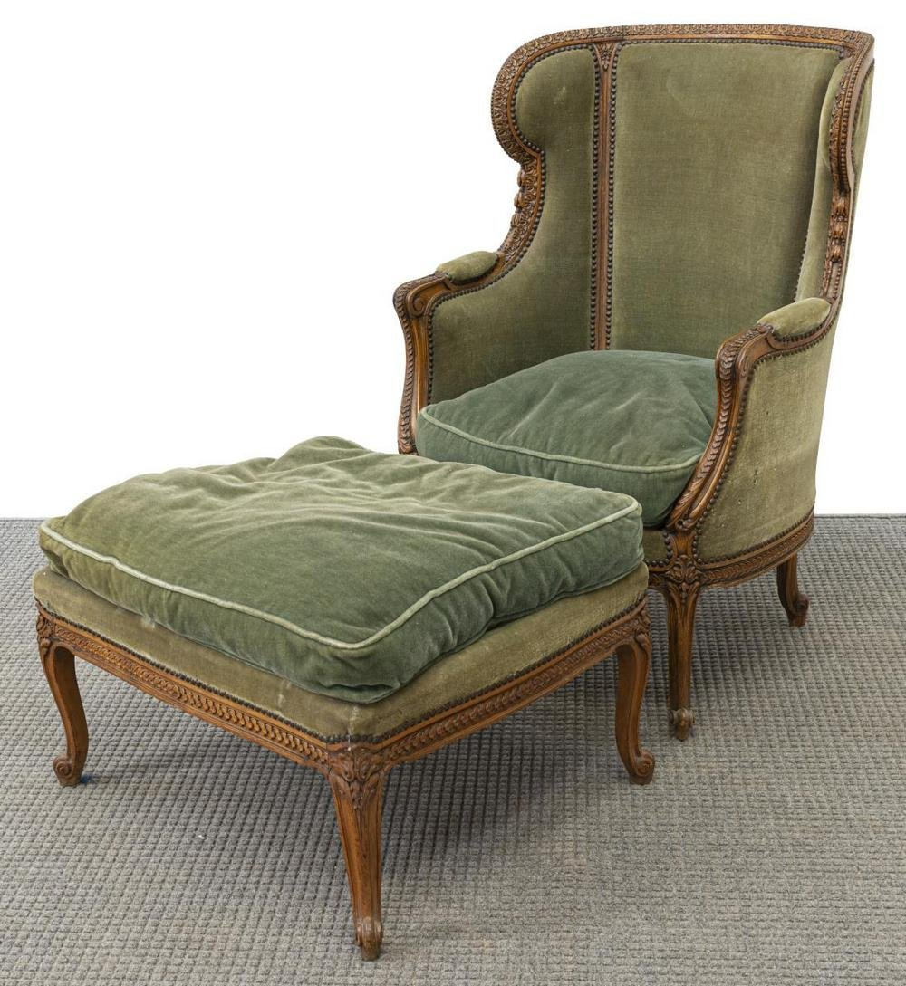 (2) FRENCH LOUIS XV STYLE BERGERE & FOOTSTOOL