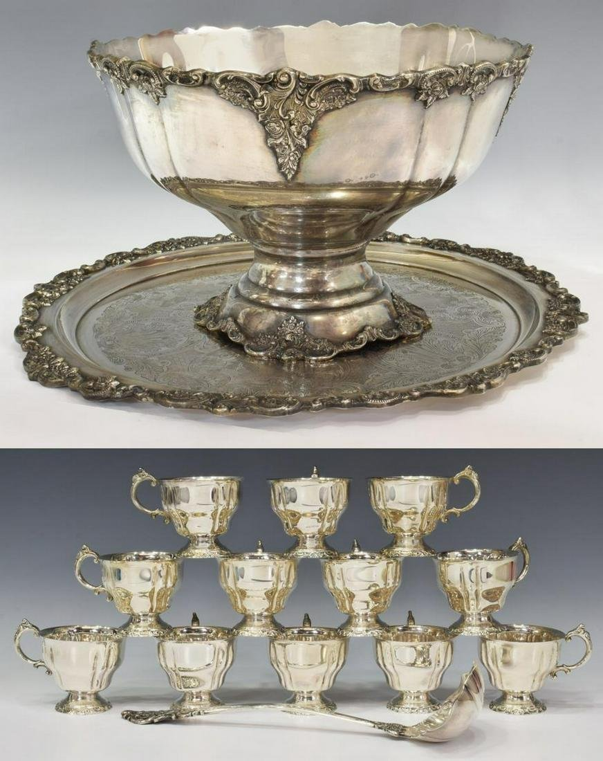 (15) WALLACE 'BAROQUE' SILVER PLATE PUNCH BOWL SET