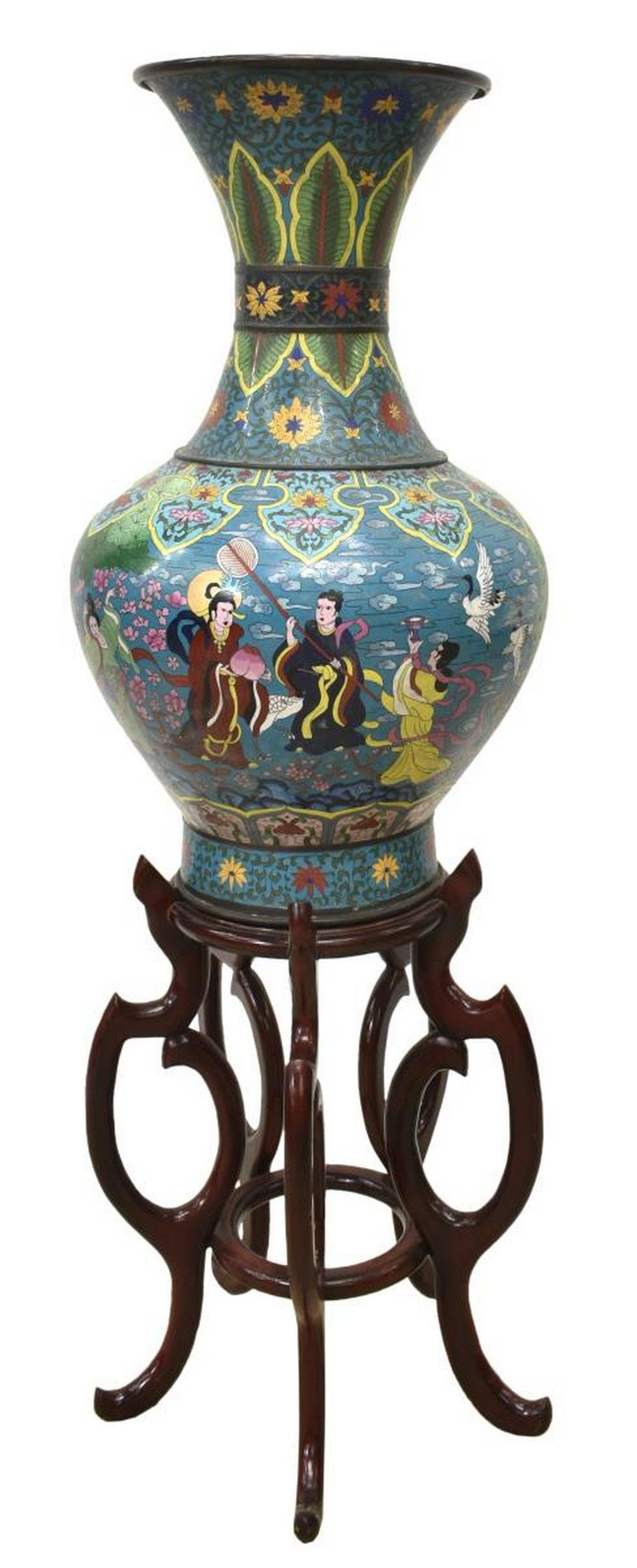 CHINESE CLOISONNE FIGURAL VASE ON TALL STAND