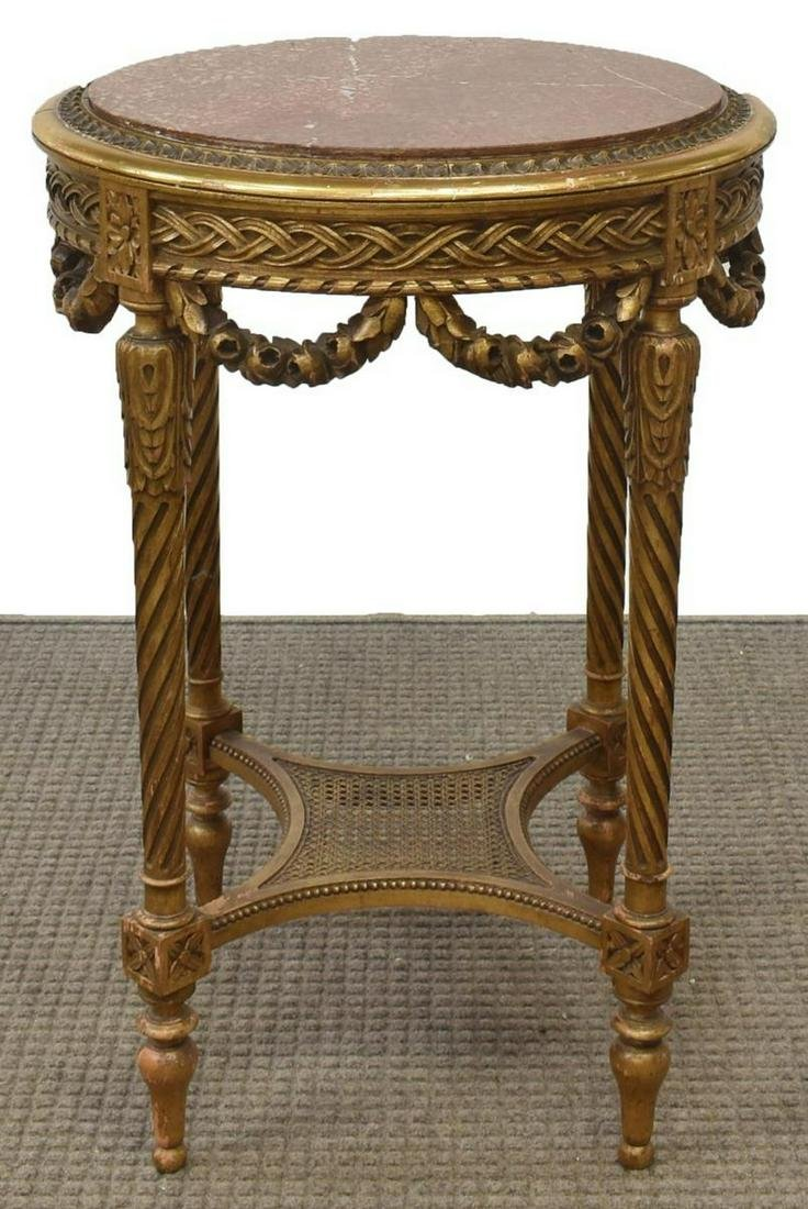 FRENCH LOUIS XVI STYLE MARBLE-TOP GILTWOOD TABLE