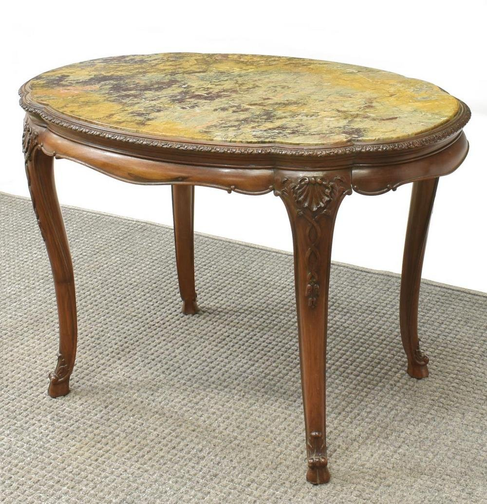 FRENCH LOUIS XV STYLE MARBLE-TOP CENTER TABLE
