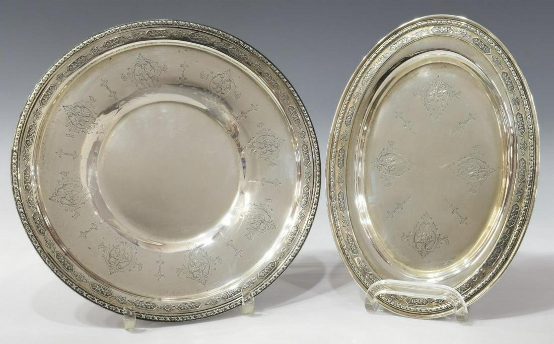 (2) TOWLE LOUIS XIV STERLING SILVER TRAY & PLATE