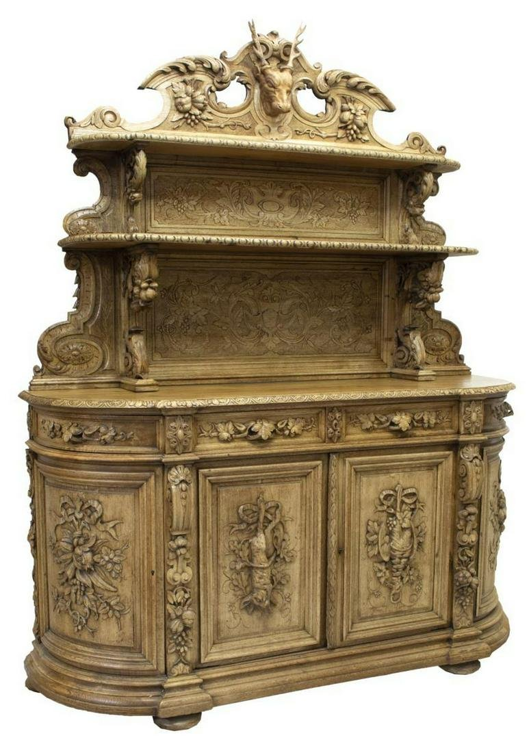 EXCEPTIONAL FRENCH CARVED OAK HUNT SIDEBOARD