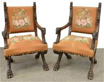 (PR) FRENCH NEOCLASSICAL WALNUT CURULE CHAIRS