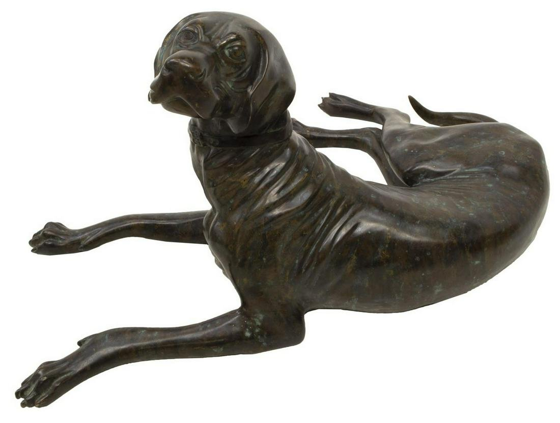 LIFE-SIZE PATINATED BRONZE SCULPTURE OF A DOG