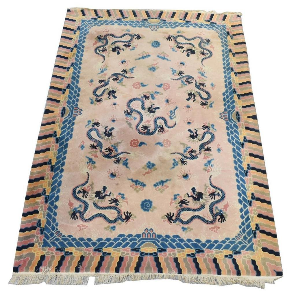 """HAND-TUFTED CHINESE DRAGON RUG, 9'1"""" X 6'2"""""""
