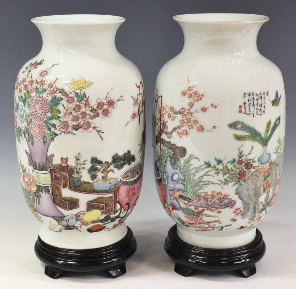 (2) CHINESE FAMILLE ROSE PORCELAIN VASES