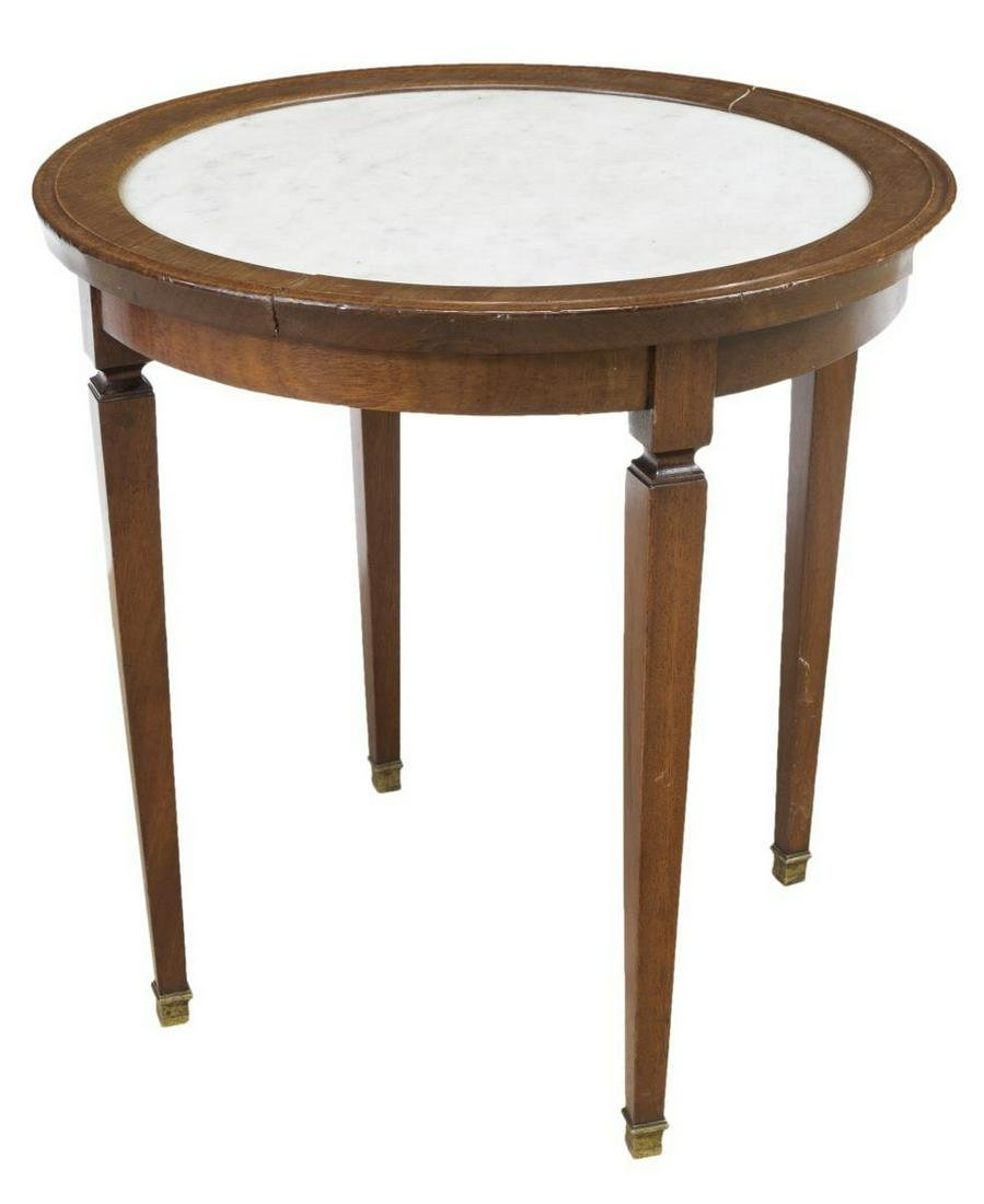 FRENCH LOUIS XVI STYLE MARBLE-TOP MAHOGANY TABLE
